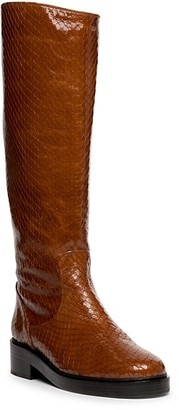 STAUD Claud Tall Snakeskin-Embossed Leather Boots