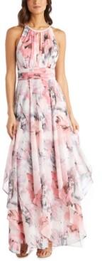 R & M Richards Petite Keyhole Halter Gown