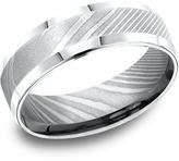 Ice Men's Damascus Steel 7mm Comfort-Fit Beveled Edge Design Ring