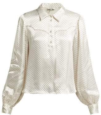 Ganni Cameron Polka Dot Print Blouse - Womens - White