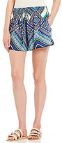 Soulmates Smocked Waist Scarf Print Wide Leg Shorts