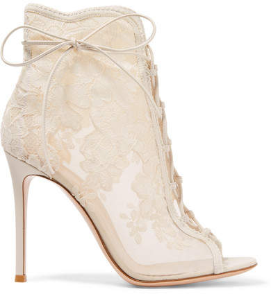 Gianvito Rossi Giada 100 Lace-up Mesh, Leather And Lace Ankle Boots - White