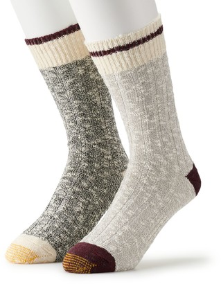 Gold Toe Men's GOLDTOE 2-pack Lodge Collection Chunky Slub Crew Socks