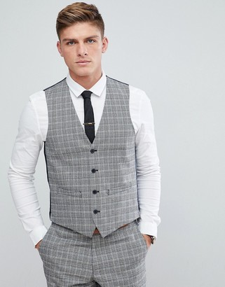 French Connection Prince Of Wales Blue Check Slim fit Suit vest