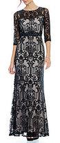 Sangria Illusion Lace 3/4 Sleeve Dress