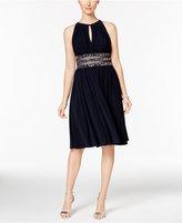 R & M Richards Embellished Gathered Keyhole Dress