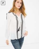 White House Black Market Embroidered Peasant Blouse