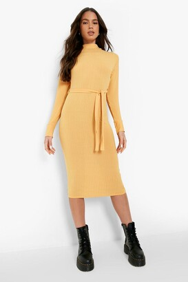 boohoo High Neck Rib Belted Midi Dress