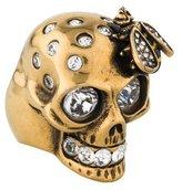 Alexander McQueen Crystal Skull & Bee Ring