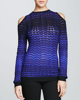M Missoni Cold-Shoulder Zigzag Sweater