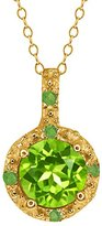Gem Stone King 0.64 Ct Round Peridot and Simulated Peridot 14k Yellow Gold Pendant