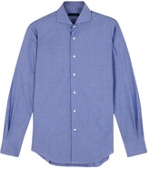 Lardini Blue Textured Cotton Shirt