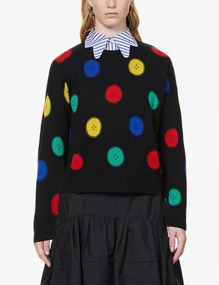 Benetton Button-intarsia cotton-blend knitted jumper