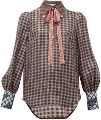 Gucci Neck-tie Gg-print Silk-satin Shirt - Womens - Brown