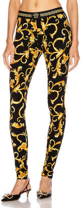 Versace Print Legging in Black & Gold | FWRD