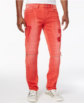 GUESS Men's Slim-Fit Ripped Moto Jeans