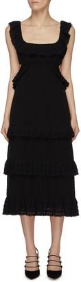 Zimmermann Lace detail pleated sleeveless midi dress