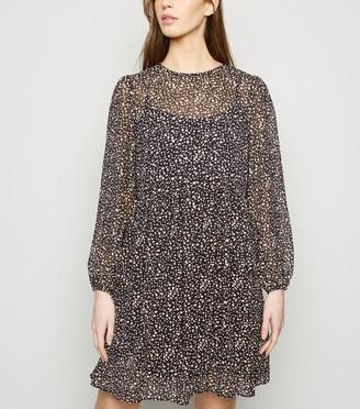 New Look Animal Print Chiffon Smock Dress