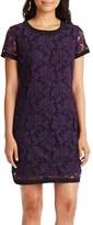 Donna Morgan Women's Lace Short Sleeve Shift Dress
