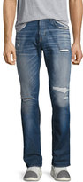 Hudson Blake Slim-Straight Distressed Jeans, Blue