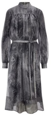 HUGO BOSS Silk Blend Snake Print Dress With Belt - Patterned