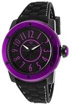 Glam Rock Women's Aqua Rock Black Silicone and Dial Purple Bezel