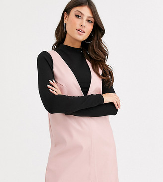 UNIQUE21 sleeveless shift dress in faux leather-Pink