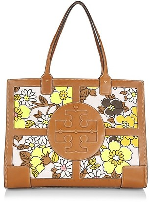 Tory Burch Ella Leather-Trimmed Floral Canvas Tote