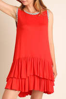 Umgee USA Red Double-Ruffle-Hem Dress