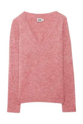 Twist & Tango - Emma V-neck sweater in winter pink - xs | alpaca wool | pink - Pink/Pink