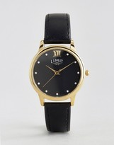 Limit Black Face & Leather Watch 6207.37