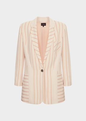 Emporio Armani Striped, Single-Breasted Jacket In Lightweight Cady