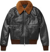 Ami Shearling-trimmed Leather Jacket - Black