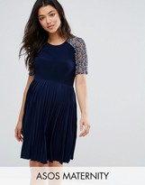 Asos Pleat And Lace Mini Dress