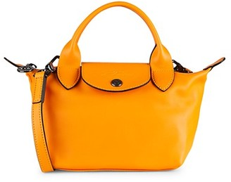 Longchamp Mini Le Pliage Leather Top Handle Bag