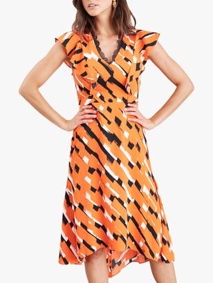 Damsel in a Dress Drina Print Midi Dress, Orange/Multi