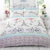 Rapport C'est La Vie Paris Duvet Cover Quilt Bedding Set, Duck Egg, Double (Flowers, Butterflies, Pink, Eiffel Tower, Bicycles)