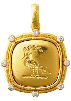 Elizabeth Locke 19K Yellow Gold Dove With Branch Pendant