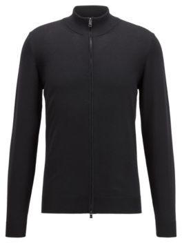 HUGO BOSS Zip Through Cardigan In Italian Virgin Wool - Black