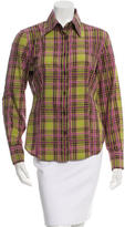 Etro Plaid Print Button-Up Top