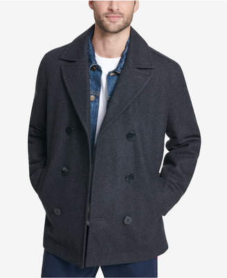 Tommy Hilfiger Men Double-Breasted Wool Peacoat