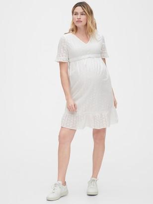 Gap Maternity Eyelet V-Neck Dress