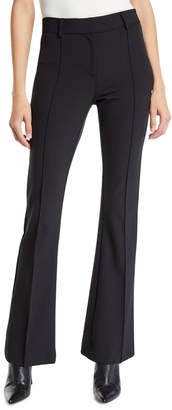 Veronica Beard Hibiscus Pintuck Boot-Cut Pants