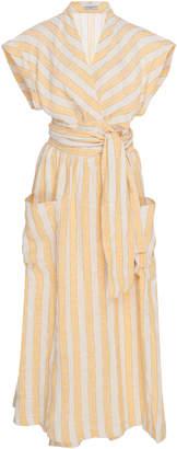 Three Graces London Clarissa Striped Linen-Blend Midi Wrap Dress