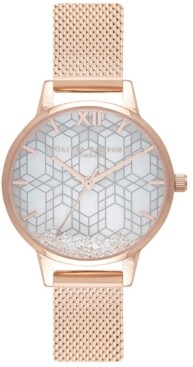 Olivia Burton Women's Ice Queen Rose Gold-Tone Stainless Steel Mesh Bracelet Watch 30mm