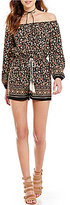 Soprano Printed Off-The-Shoulder Long-Sleeve Romper