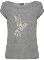 Mint Velvet Hummingbird Print T-Shirt, Light Grey