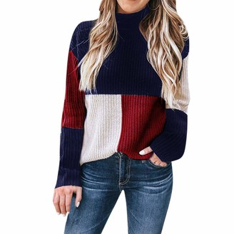 LEXUPE Women Autumn Winter Warm Comfortable Coat Casual Fashion Jacket Colorblock Stand Long Sleeve Knitted Sweater Jumper Pullover Top Blouse Blue