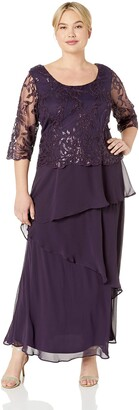 Le Bos Women's Embroidered MESH Popover Tiered Long Dress
