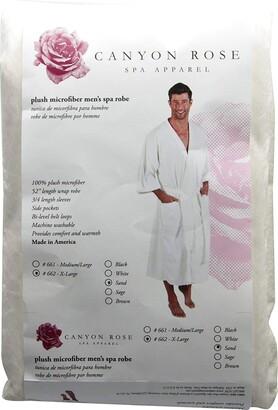 Canyon Rose Cloud 9 Men's Plush Microfiber Spa Robe Kimono Style Wrap 3/4 length Sleeves Side Pockets Waist Belt with Bi-level Loops Machine Washable 52 inch length